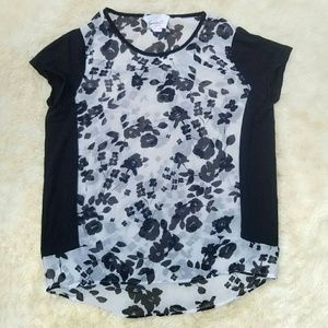 Vincent Camuto sheer floral top black white small